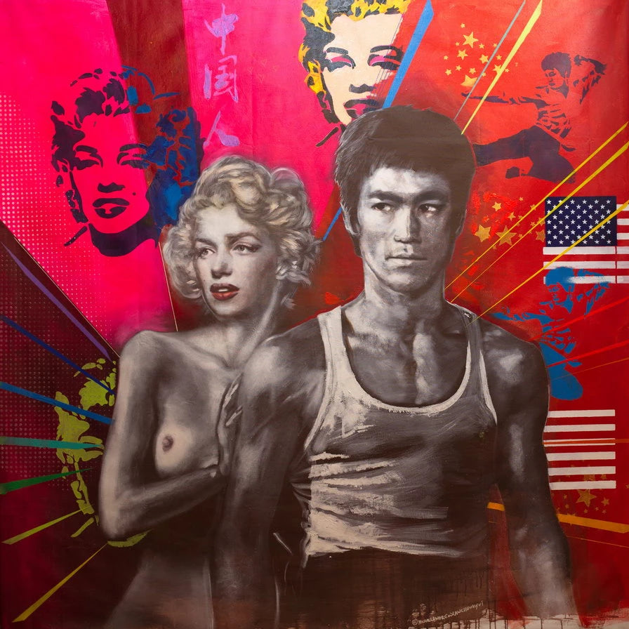 Untitled American Loving Couple by Michael Andrew Law, Oil and Acrylic on Canvas