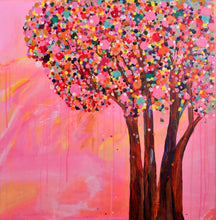 """A Tree Brings Blossom Flowers And Happiness"" By Jasreet Kaur, Acrylic on Canvas"