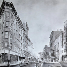 NY Rambling: Large Panel A by Miriam Innes, Charcoal on Fabriano