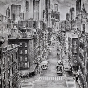 NY Rambling: Large Panel D by Miriam Innes, Charcoal on Fabriano