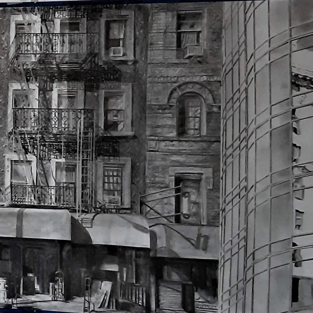 NY Rambling: Large Panel B by Miriam Innes, Charcoal on Fabriano