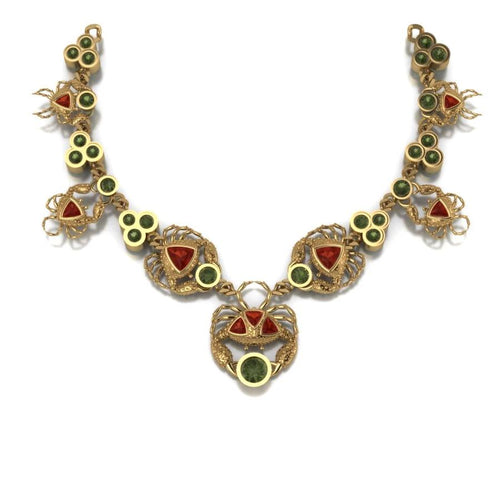 Crabs Necklace by Lisa Lesunja, Yellow Gold 750 18K with 28 Green Brilliant Cut Tourmalines 12.33ct. and 9 Trillion Cut Fire Opal 5.61ct. (7578)