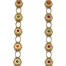 Urchins Necklace by Lisa Lesunja, Silver 925, Gold Plated Polish with 12 Pink and Green Brilliant Cut Tourmalines 4.52ct. (7568)