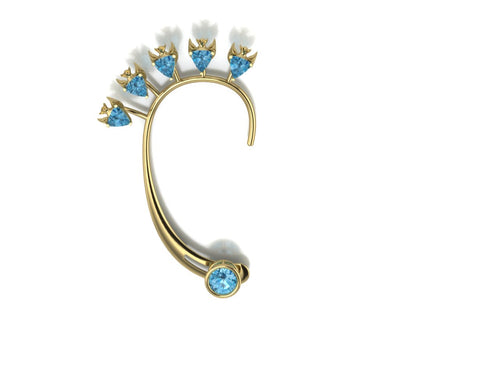 Fish Earring by Lisa Lesunja, Yellow gold 750 18K with 5 blue Trillion cut Topaz 3.5ct. and 1 Brilliant cut Swiss Blue Topaz 3.07ct. (7575)