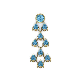 Fish Earring by Lisa Lesunja, Yellow Gold 750 18K with 9 Blue Trillion Cut Topaz 6.3ct. and 1 Blue Brilliant Cut Topaz 3.07ct. (7574)