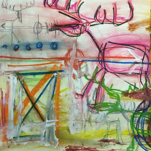Pink Deer/ Green Deer with the Little Ones by Sarah Fox Wangler, Mixed Media on Paper