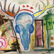 Pink Deer Skull Experiment by Sarah Fox Wangler, Mixed Media on Paper