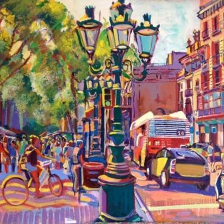 Ramblas by Aurelio D. Santos, Oil on Canvas