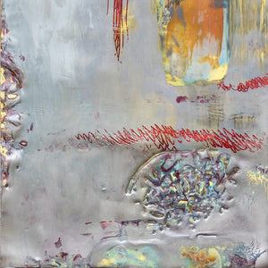 Gray Under Surface by Rita Klachkin, Encaustic and Mixed Media on Wood Panel