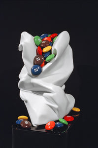 M&M Bag I Marble Stone Sculpture by Robin Antar