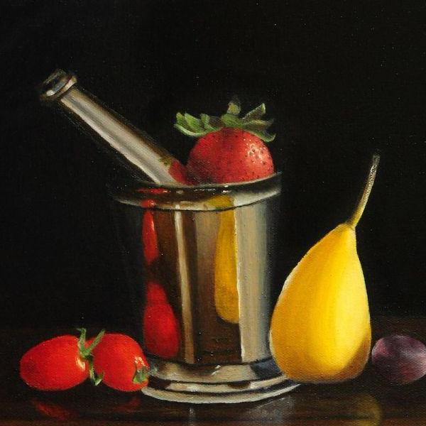 Still Life With Pears and Strawberries by Sarasvathy TK