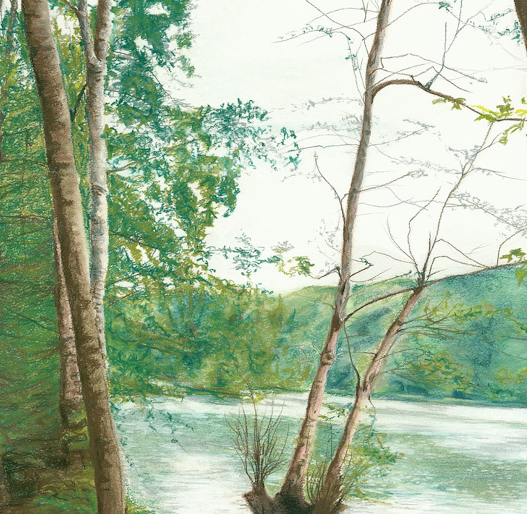 """Spring Newmillerdam""  By Caroline Walker, Pastel & Watercolour on Paper"