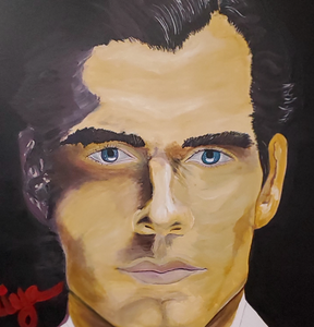 """Henry Cavill as 007"" By Zakiya Raines, Oil on Canvas"