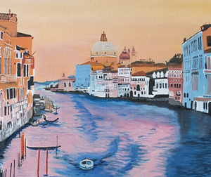 """Venice While Sunset"" By Claudia Luethi, Oil on Canvas"