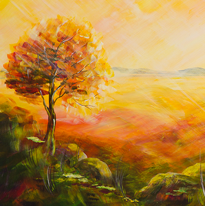 """Sunset"" By Olga Verasen, Mixed Media on Canvas"