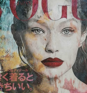 """Gigi in Japan"" By Maaike Wycisk, Mixed Media on Canvas"