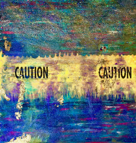 Warning Label by Michele DiRocco,  Mixed Media on Canvas