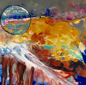 Moon Bubble by Caryl Gordon, Mixed Media Encaustic on Wood Panel
