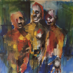 Human Beings by Chris Vasileiadis, Mixed Media on Canvas