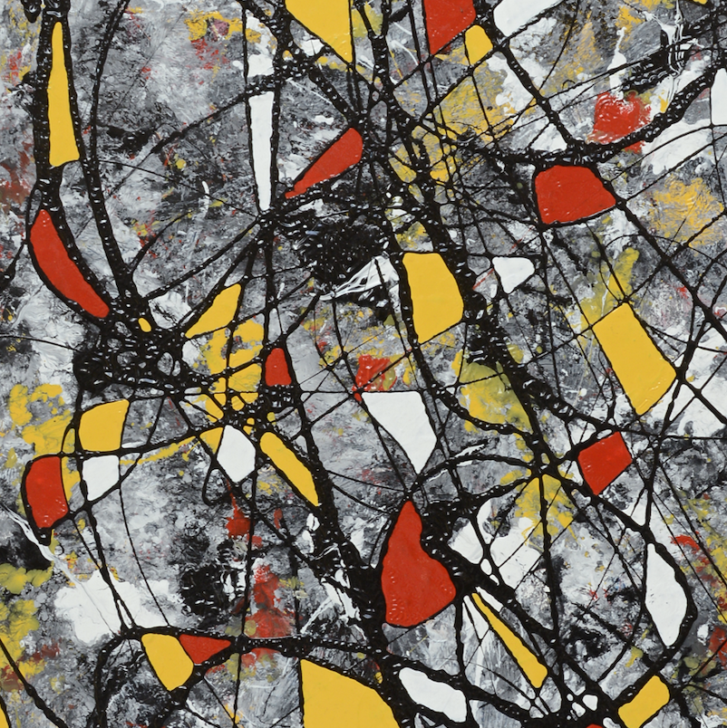 Irregular shapes in red and yellow by Bas Bongers, Acrylic on Canvas