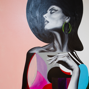 Woman in Green Earrings by Chance Watt, Acrylic on Canvas