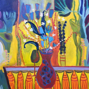 Red Vase by Nanok, Oil on Canvas