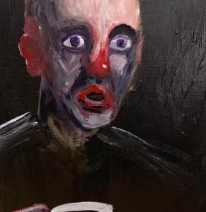 Morning Coffee and Existential Terror by Eli Shaw, Acrylic on Canvas