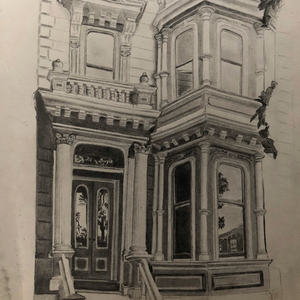SF Barbie House by Valentina Gomez, Graphite on Paper