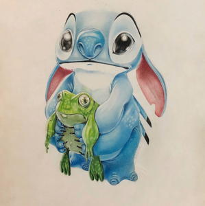 Stitch by Valentina Gomez, Prismacolor on Paper