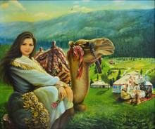 Girl With a Camel by Abdul Razzak Zaarur, Oil on Canvas