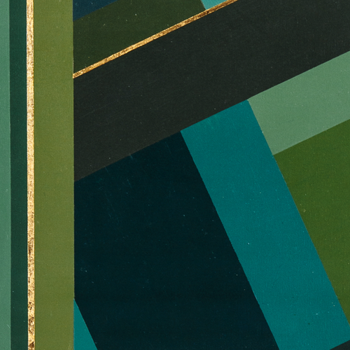 Green Geometry 1 by YUVO, Mixed Media on Canvas