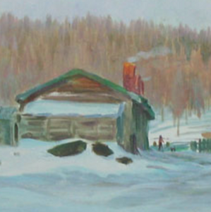 March Snow in Xing-an Forest Farm by Jiqun Chen, Oil on Canvas