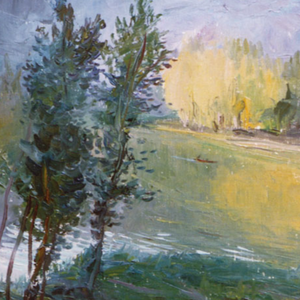 Pearl Lake in the Western Suburbs of Beijing by Jiqun Chen, Oil on Canvas Board