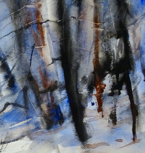 """Blue Forest"" By Luis Camara, Watercolor on Hot Pressed Paper"