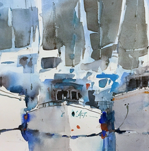 """Boats and Reflections"" By Luis Camara, Watercolor on Hot Pressed Paper"