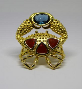 Crab Double Ring by Lisa Lesunja, Silver 925 Gold Plated 3 Fire Opals 4.8ct. and a Blue Topas 8.05ct. (7593)