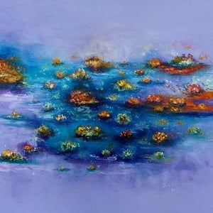 The Floating Garden of Dharma by Joao Quiroz, Oil and Spray Paint on Canvas