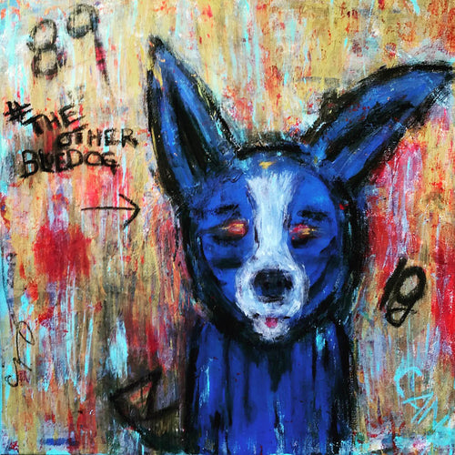 The Other Blue Dog by Cindy Muscarello, Mixed Media