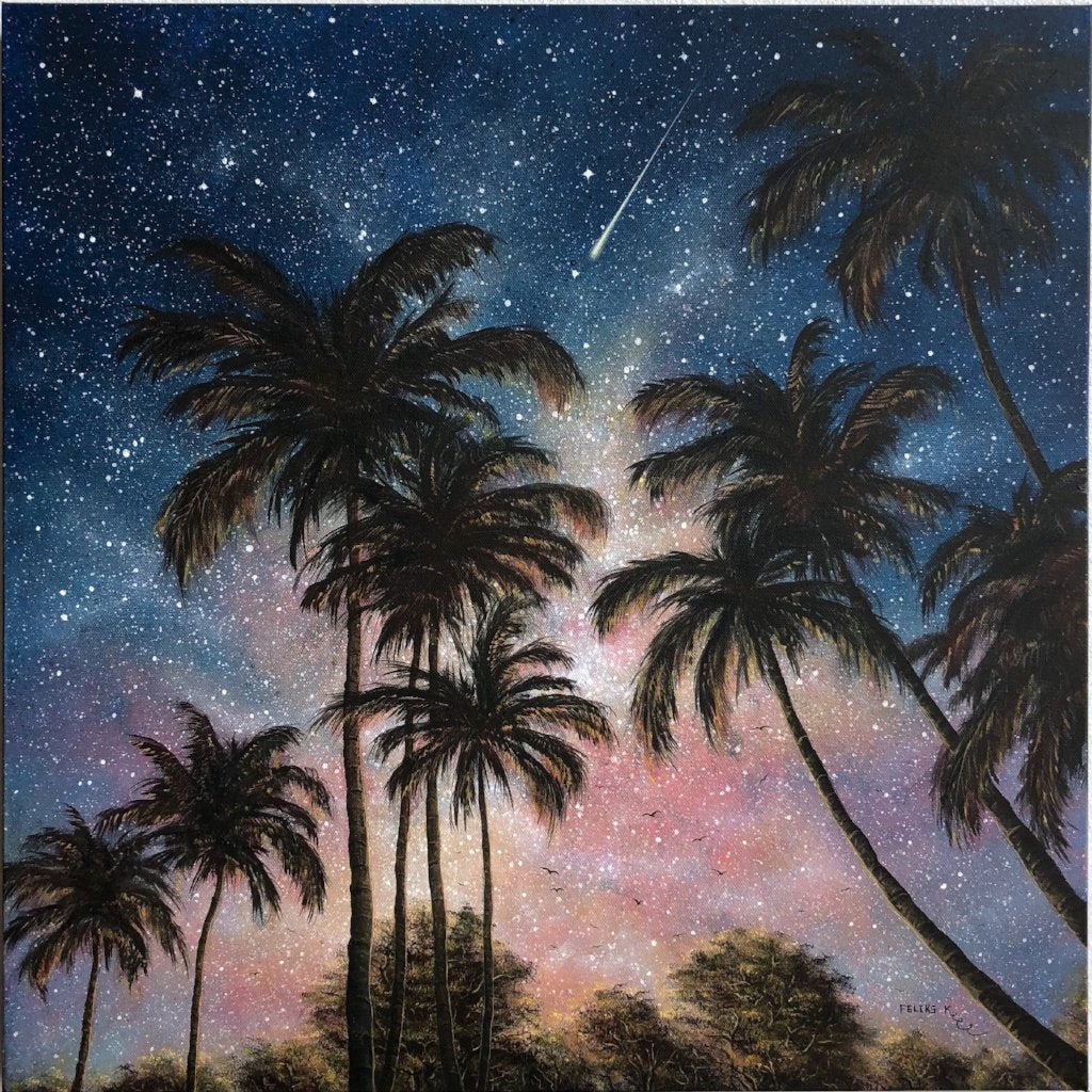 Tropical Night By Feliks Kaparchu, Acrylic On Gallery Canvas
