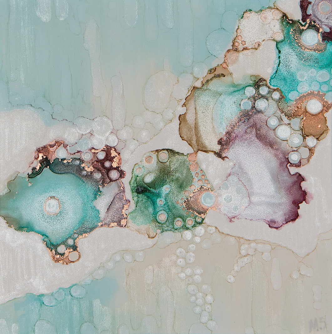 Turquoise Snowfall by Mishel Schwartz, Alcohol Ink on Yupo Paper