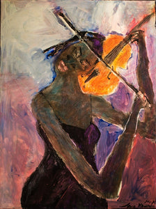 Woman Playing Violin by Jerome Wright, Mixed Media on Canvas