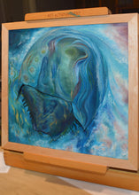 Aquatic #4 (Earth Series) by Giselle Simons, Oil Paint on Natural Horseshoe Crab Shell mounted on Wood Panel