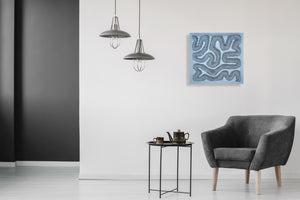 Black Squiggle on White Landscape by William Lindsay, Mixed Media on Canvas