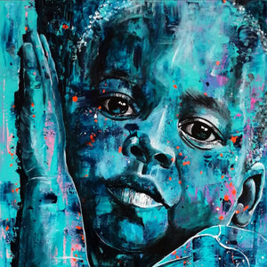 Boy in Blue by Zeca Vilela, Acrylic on Canvas