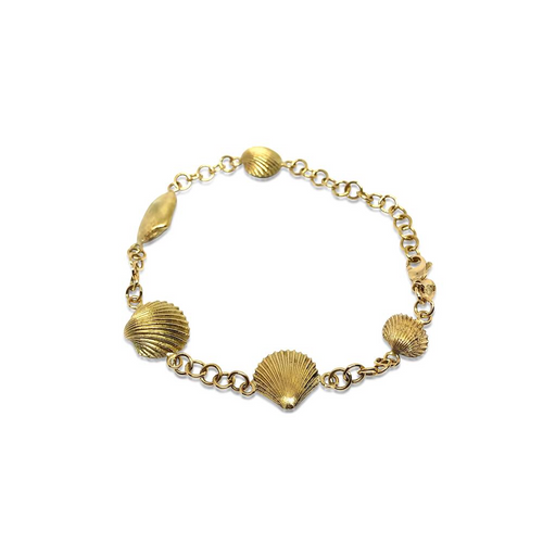 Seashell Bracelet by Lisa Lesunja, Yellow Gold 750 18K Polish (7561)