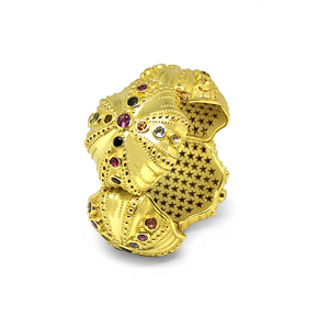 Urchins Bracelet by Lisa Lesunja, Silver 925, Gold Plated with 52 Brilliant Cut Tourmaline 20ct. (7554)