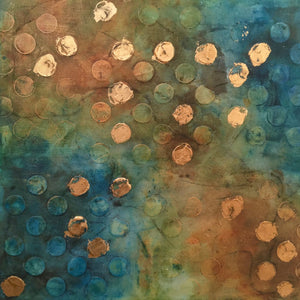 Golden Circles By Karla G Hinojosa., Mixed Media On Canvas