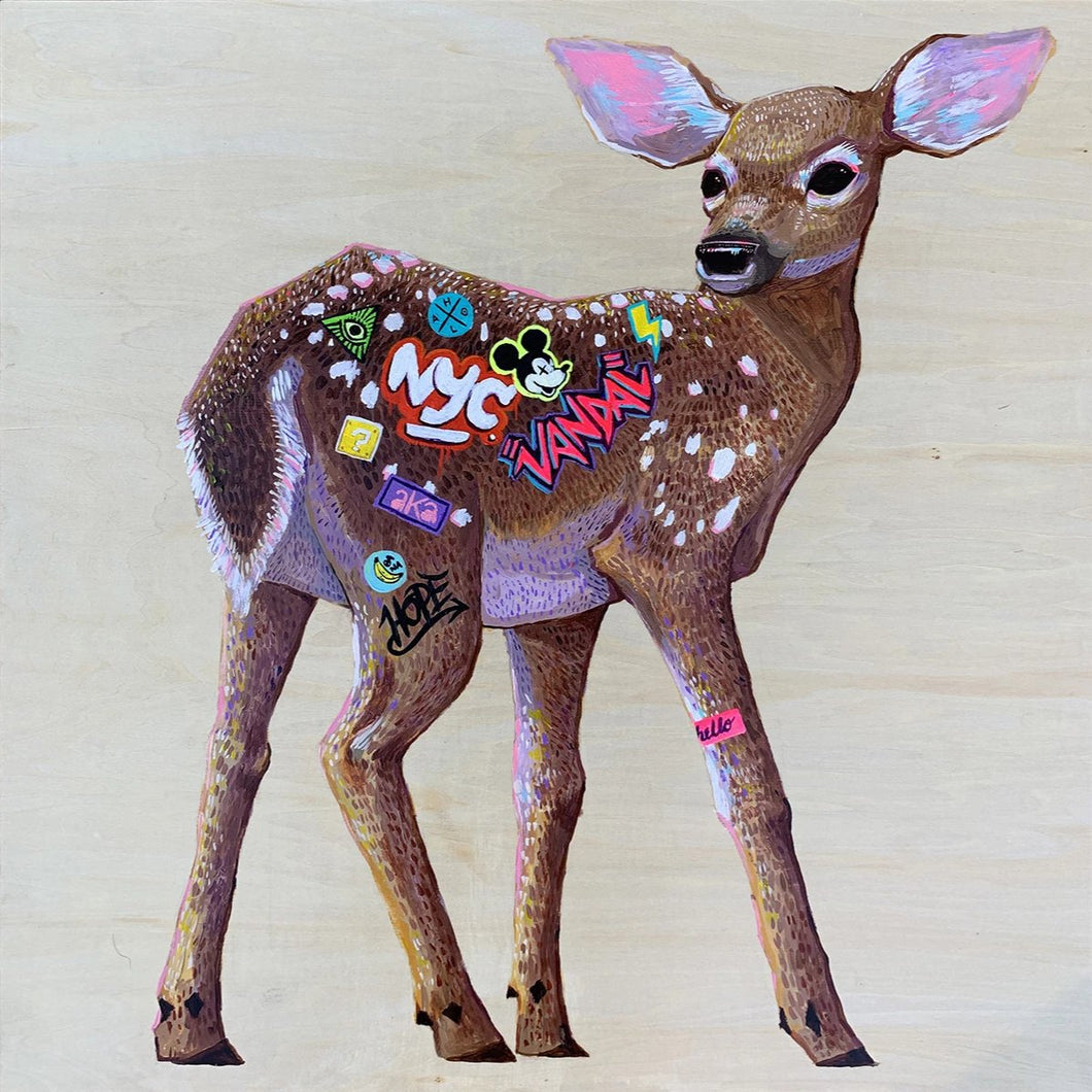 Deer NYC by Andrés Moncayo, Acrylic on Wood