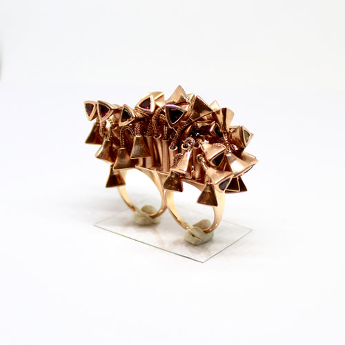 Seastar Double Ring by Lisa Lesunja, Silver 925 Rosegold Plated with Turmaline (7594)
