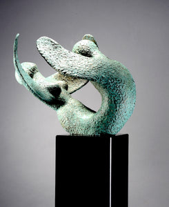 """Double Angel"" by Karen Salicath Jamali, Bronze and Granite ore Marble"
